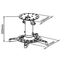 Support plafond vidéoprojecteur, Hauteur 20cm, Noir