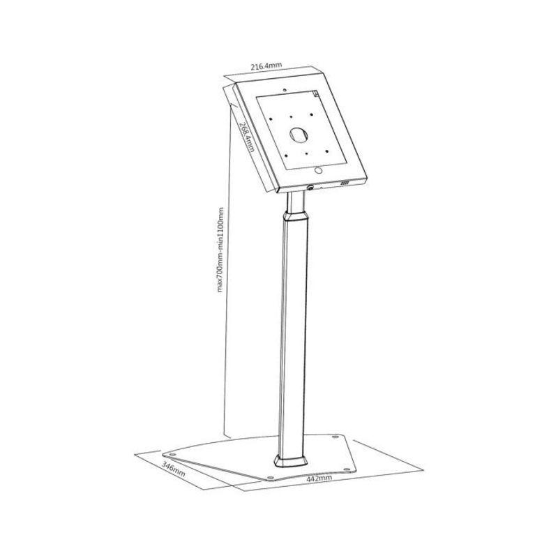 support antivol sol pour tablette ipad 2 3 4 air air2 pro 9 7 kimex. Black Bedroom Furniture Sets. Home Design Ideas