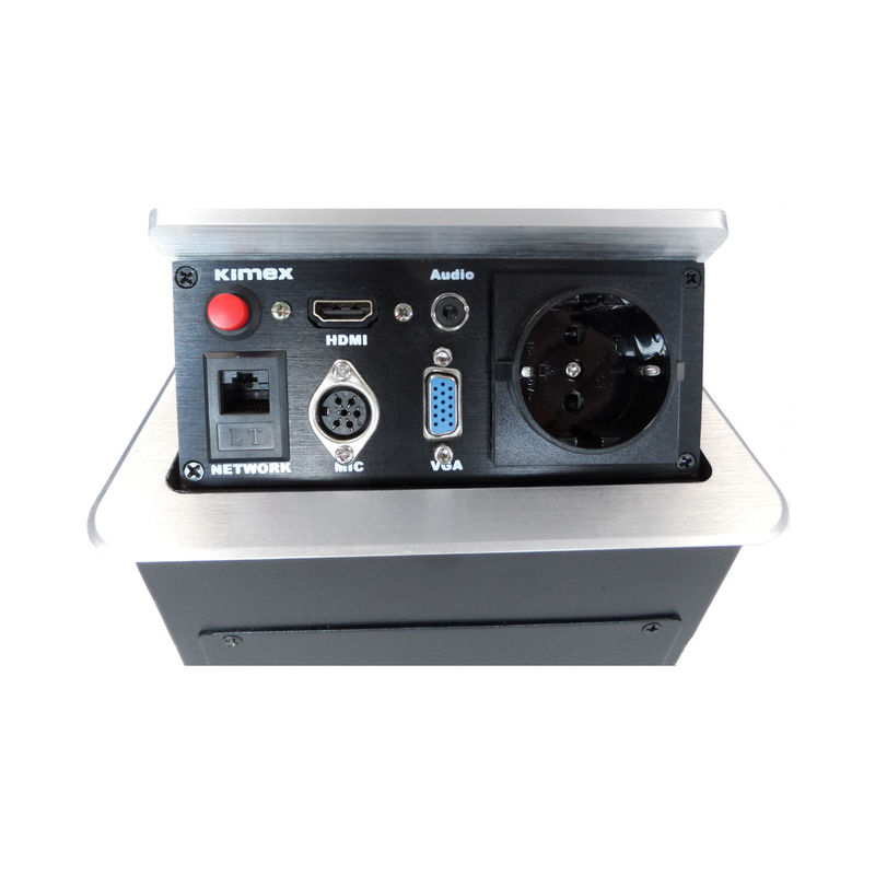 bo tier de table encastrable rj45 vga hdmi audio micro prise 220v gris kimex. Black Bedroom Furniture Sets. Home Design Ideas