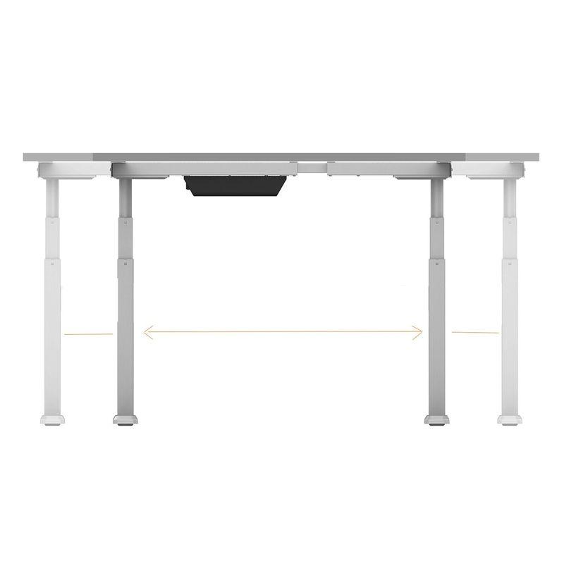 bureau lectrique assis debout 140x75cm hauteur 62 128cm plateau blanc pied noir kimex. Black Bedroom Furniture Sets. Home Design Ideas
