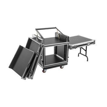 Flight case régie rack 19´´ avec table + plan incliné, Capacité 12U