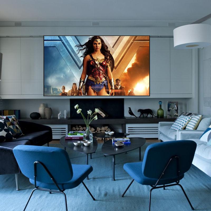 ecran de projection sur cadre 2 00 x 1 13m format 16 9 s rie slim kimex. Black Bedroom Furniture Sets. Home Design Ideas