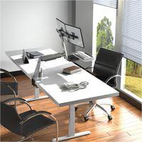 Bureau motorisé assis-debout 150x75cm, Plateau blanc/ Pied gris