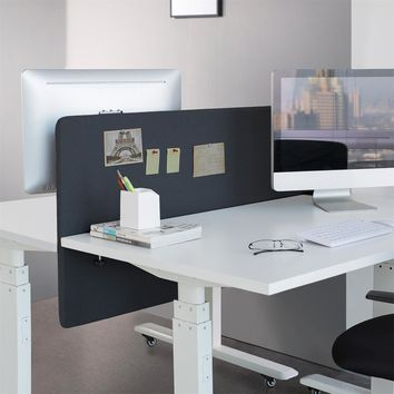 panneau de s paration bureau 150 x 60 cm noir kimex. Black Bedroom Furniture Sets. Home Design Ideas