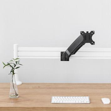 Kit barre de fixation de type Slatwall, 120cm + 2 pieds de table + Support moniteur à bras réglable